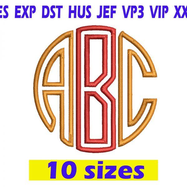 Circle Applique Monogram Embroidery INSTANT download Circle Applique Monogram Embroidery