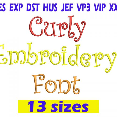 Curly Embroidery Font INSTANT download Curly Embroidery Font
