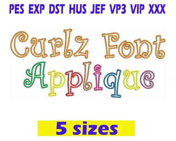 Curlz Font Applique Embroidery INSTANT download Curlz Font Applique Embroidery