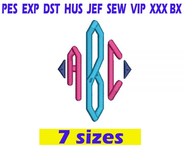 Diamond Monogram Font Embroidery INSTANT download Diamond Monogram Font Embroidery