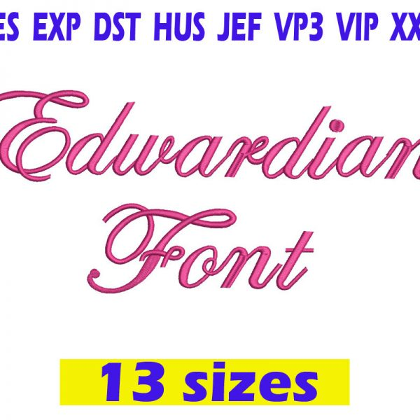 Edwardian Script Embroidery Font Instant Download Edwardian Script Embroidery Font
