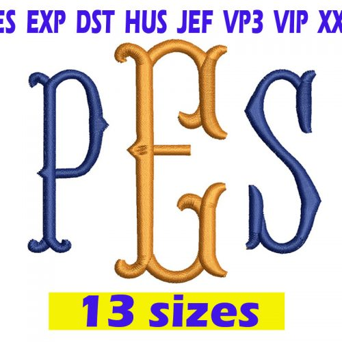 FishTail Monogram embroidery design INSTANT download FishTail Monogram embroidery design