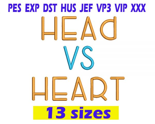 Head Vs Heart Embroidery Font INSTANT download Head Vs Heart Embroidery Font