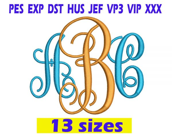 Interlocking Monogram Embroidery Font INSTANT download Interlocking Monogram Embroidery Font