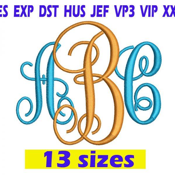 Interlocking Monogram Embroidery Font INSTANT download Interlocking Monogram Embroidery Font