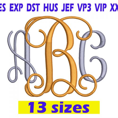 Interlocking Vine Monogram Font Embroidery INSTANT download Interlocking Vine Monogram Font Embroidery