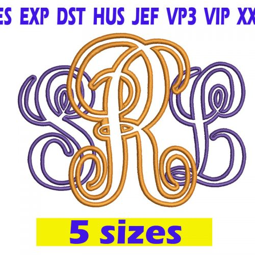 Interlocking vine Applique Font Embroidery INSTANT download Interlocking vine Applique Font Embroidery