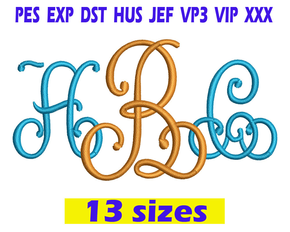 Lace monogram font machine embroidery instant download