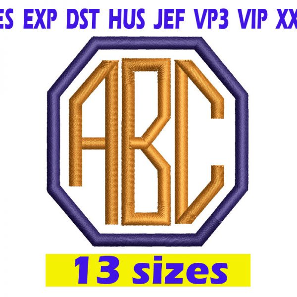 Octagon Monogram Font Embroidery INSTANT download Octagon Monogram Font Embroidery