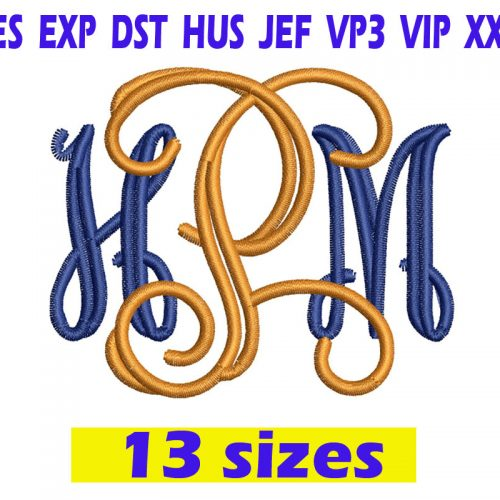 Open Vine Monogram Font Embroidery Instant Download Open Vine Monogram Font Embroidery