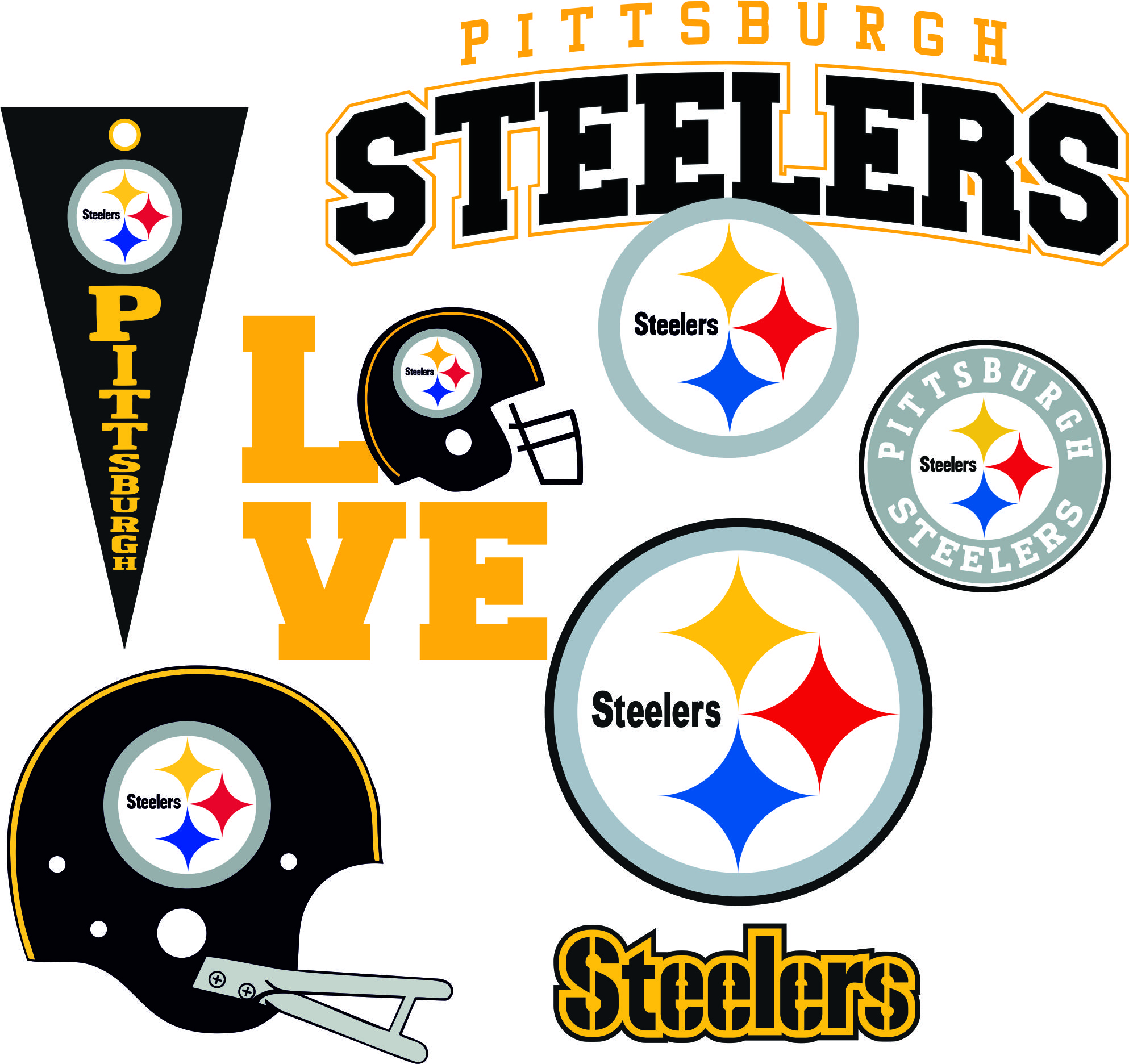 Pittsburgh Steelers Svg Dxf Eps Logo Silhouette Studio Transfer Iron On Cut File Cameo Cricut Iron On Decal Vinyl Decal Layered Vector