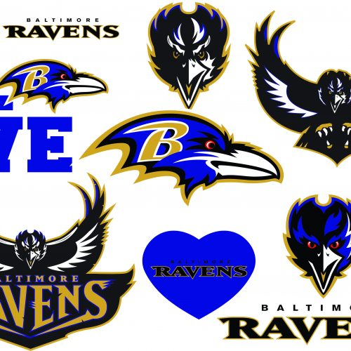 Baltimore Ravens SVG Logo Silhouette Studio Transfer Iron on Cut File Cameo Cricut Iron on decal Vinyl decal Layered Vector Inactive