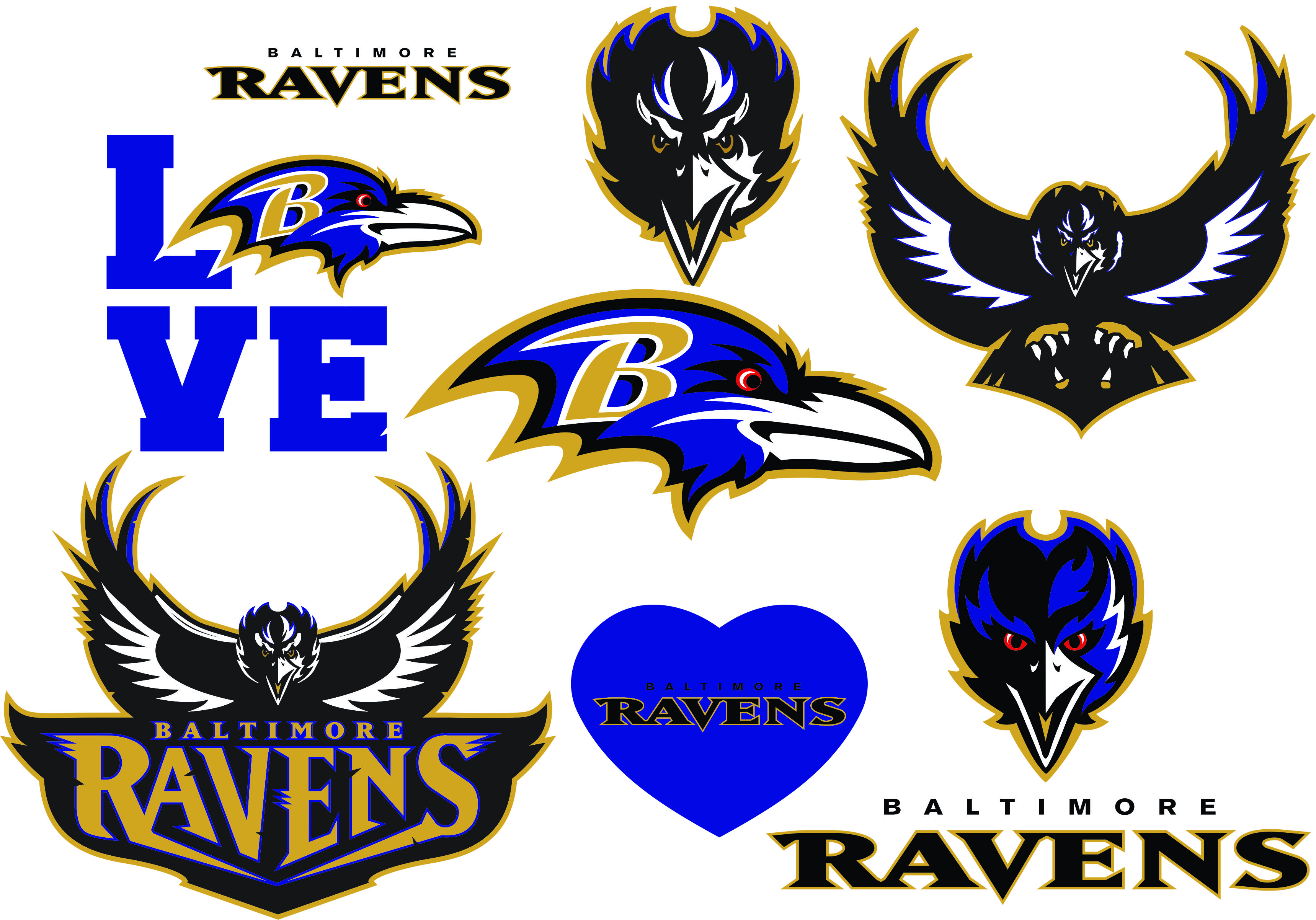 Baltimore Ravens Svg Logo Silhouette Studio Transfer Iron On Cut File Cameo Cricut Iron On Decal