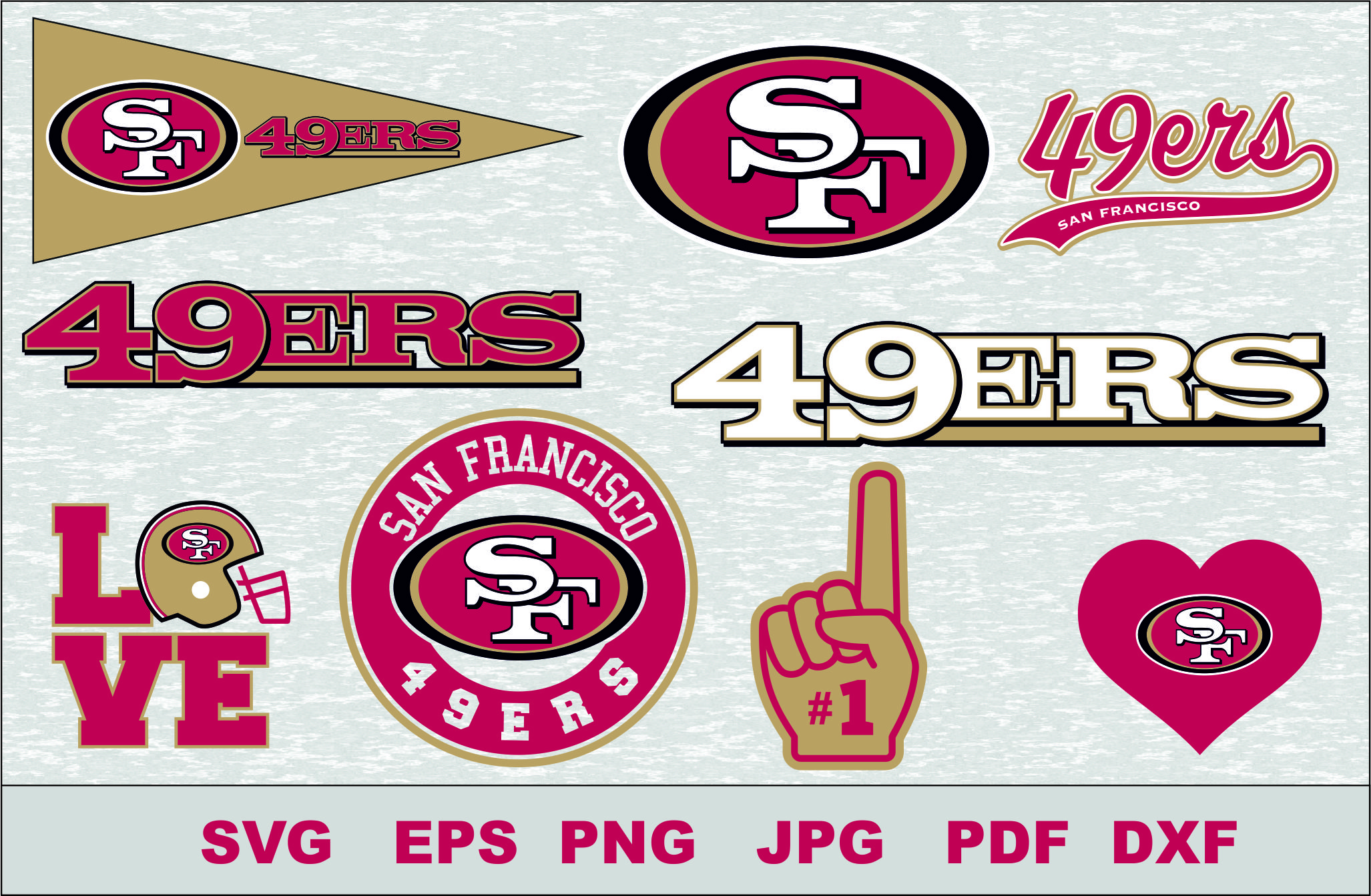 San Francisco 49ers Silhouette Studio Transfer Iron On Cut File